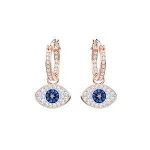 1a995489a270e6 Swarovski Duo Evil Eye Hoop Pierced Earrings, Multi-Colored, Rose Gold  Plating ...